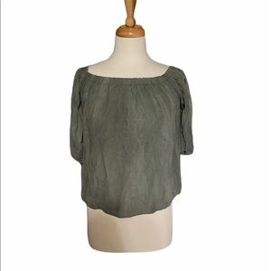 Polly Esther Green cold shoulder blouse top small